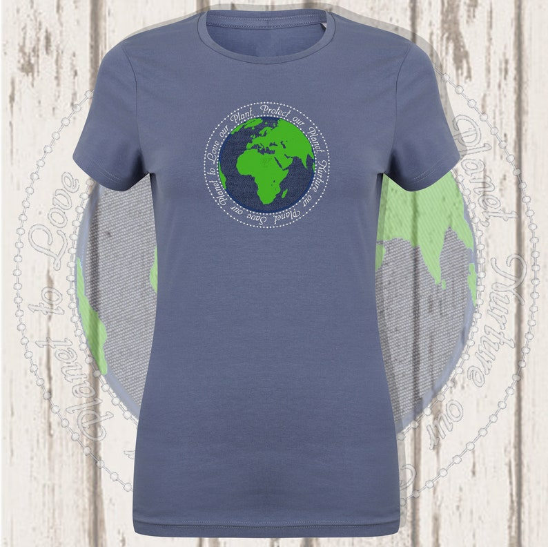 World appliqué and embroidered T-shirt Heather Navy