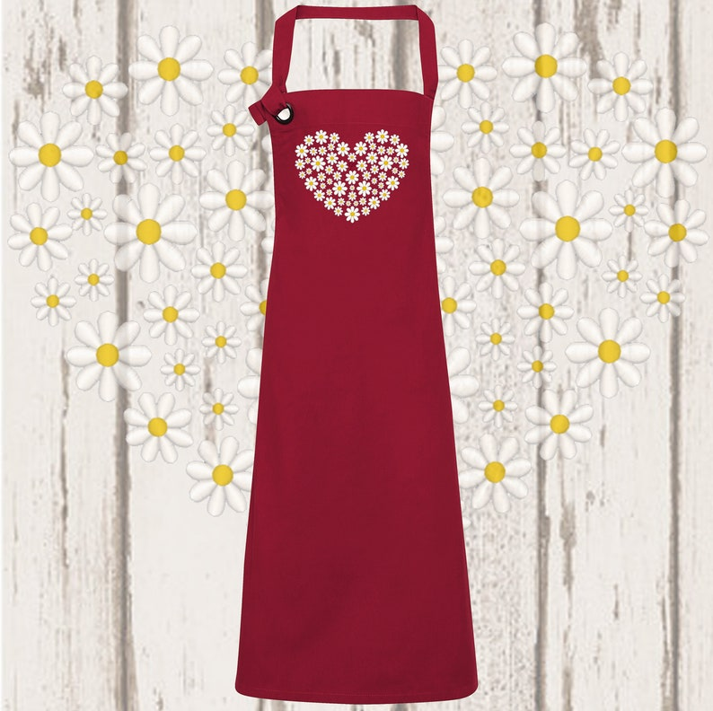Daisy Heart Embroidered Canvas Apron image 0