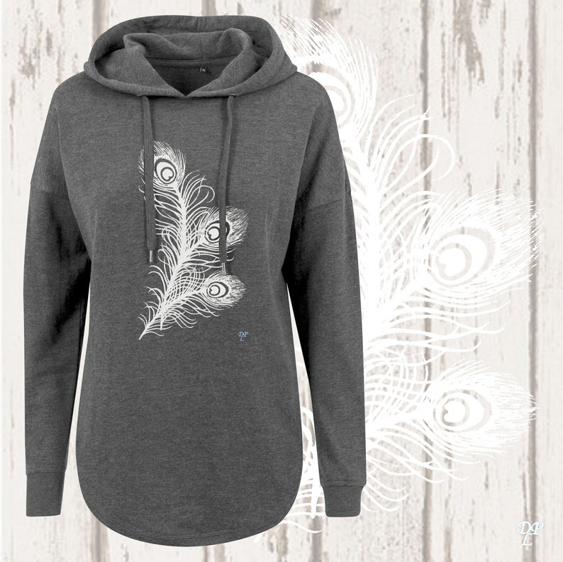 Peacock Feather Embroidery Hoodie Charcoal