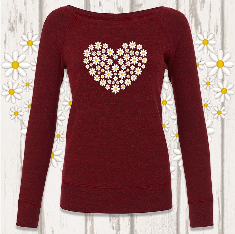Daisy Heart Wide Neck Sweat Top Dark Red Melange