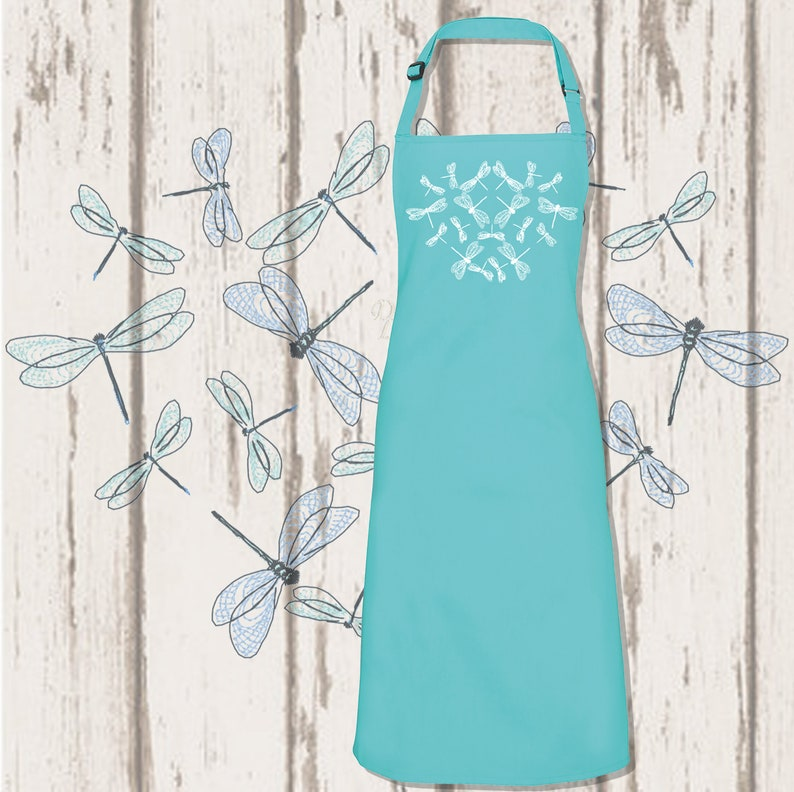 Dragonfly Heart Embroidered Apron Duck Egg Blue