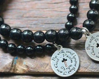 Black Onyx Stretch Bracelet, Psalm 46:10