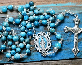 "Catholic ""Crazy Lace"" Agate Gemstone Rosary in Silver"