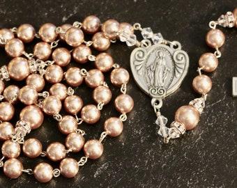 Catholic LARGE BEAD Swarovski Rose Gold Pearl Rosary in Silver