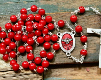 Catholic LARGE BEAD Red Coral Holy Spirit Rosary in Silver