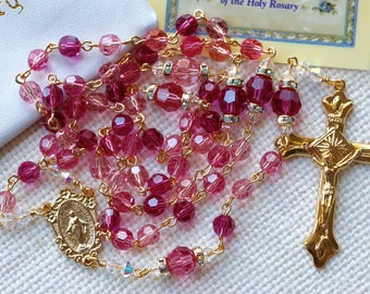 Catholic Swarovski Pinks Rosary in Gold