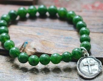 Green Aventurine Hammered Cross Charm Stretch Bracelet