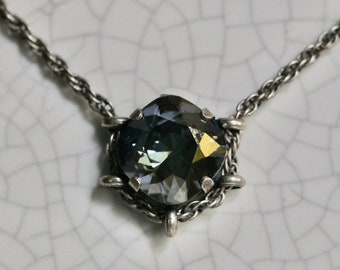 Swarovski 12mm Black Diamond Square Cradle Necklace in Antique Silver