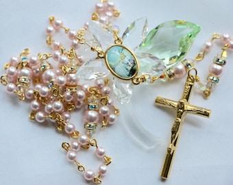 Catholic SMALL Bead Swarovski Rosaline Pearl Baptism Rosary in Gold