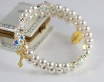 Catholic Swarovski Crystal and Pearl Wrap Rosary Bracelet