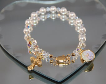 Catholic Swarovski One Decade Pearl Rosary Bracelet in Gold or Silver