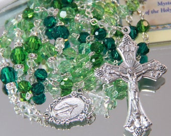 Catholic Swarovski Crystal Rosary in Greens