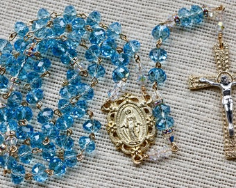 Catholic Swarovski Crystal LARGE BEAD Aquamarine Rosary in Gold