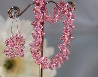 Swarovski Crystal Pink Rock Candy Earrings