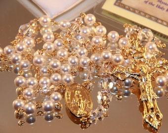 Catholic Swarovski White Pearl Rosary in Gold