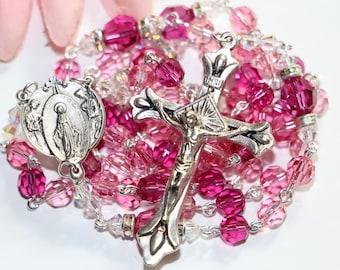 Catholic Swarovski Crystal Rosary in Pinks