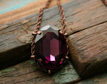 Swarovski Amethyst Crystal Cradle Pendant in Copper