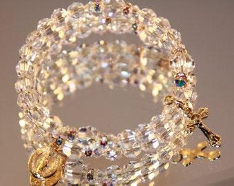 Catholic Swarovski Crystal Gold Wrap Rosary Bracelet