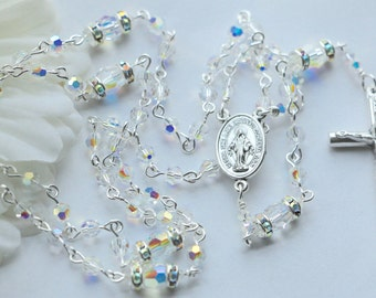 Swarovski SMALL bead AB Crystal Miraculous Medal Rosary in Silver