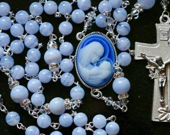 Catholic Blue Lace Agate (Grade AAA) and Cameo Rosary