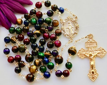 Catholic LARGE BEAD Multi Colored Tiger Eye Rosary in Gold