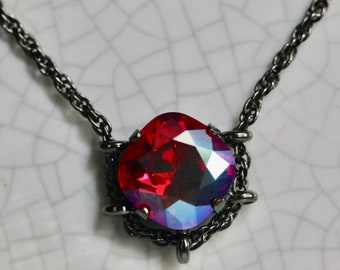 Swarovski 12mm Light Siam Shimmer Square Hematite Cradle Necklace