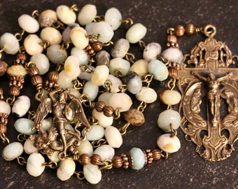 Bronze LARGE BEAD St Michael Amazonite Rosary