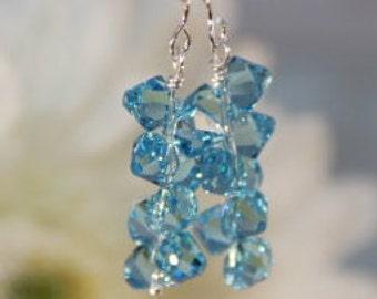Swarovski Crystal Aquamarine Rock Candy Earrings