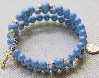 Wrap Rosary Bracelet in Iridescent Light Blue Pearls and Gold