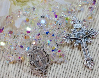 Catholic LARGE BEAD Swarovski Crystal AB Rosary in Silver