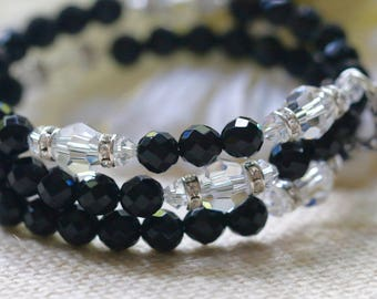 Faceted Black Onyx Catholic Wrap Rosary Bracelet in Silver