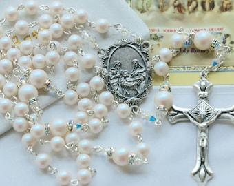 Catholic Swarovski Pearl Holy Family Rosary