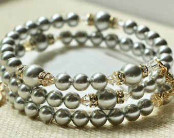 Wrap Rosary Bracelet with Silver Swarovski Pearls and Gold
