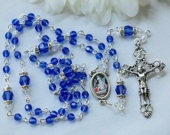 Catholic SMALL Bead Swarovski Sapphire Crystal Guardian Angel Rosary in Silver