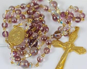 Catholic Swarovski Crystal Lilac Shadow Rosary in Gold