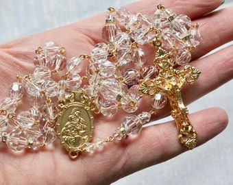 Catholic LARGE BEAD Swarovski Crystal Clear Rosary in Gold