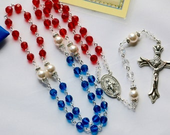 God, Please Bless America Catholic Swarovski Rosary