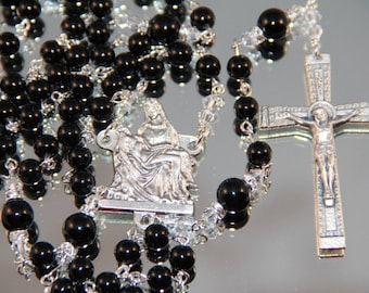 Catholic Black Onyx Pieta Rosary