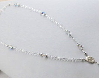 Swarovski Clear Crystal Catholic Rosary Necklace in Sterling Silver