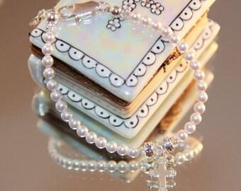 Swarovski Pearl Baby Baptism Bracelet