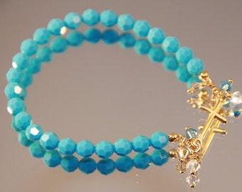 Swarovski Crystal and Gold Sideways Cross Bracelet