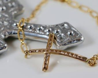 Cubic Zirconia 14K Gold Sideways Cross Bracelet