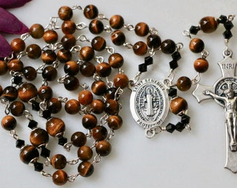 Catholic Yellow Tiger Eye St Benedict Rosary in Silver