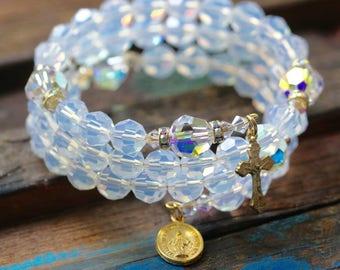 Swarovski LARGE BEAD White Opal Wrap Rosary Bracelet, AB Crystal and Gold