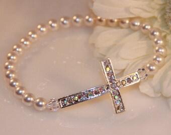 Swarovski Pearl and Rhinestone Sideways Cross Bracelet