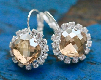 Swarovski Halo Earrings in Golden Shadow