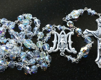 Catholic Swarovski AB Crystal Rosary Beads