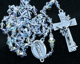 Catholic Swarovski Crystal AB Bicone Our Lady of Guadalupe Rosary