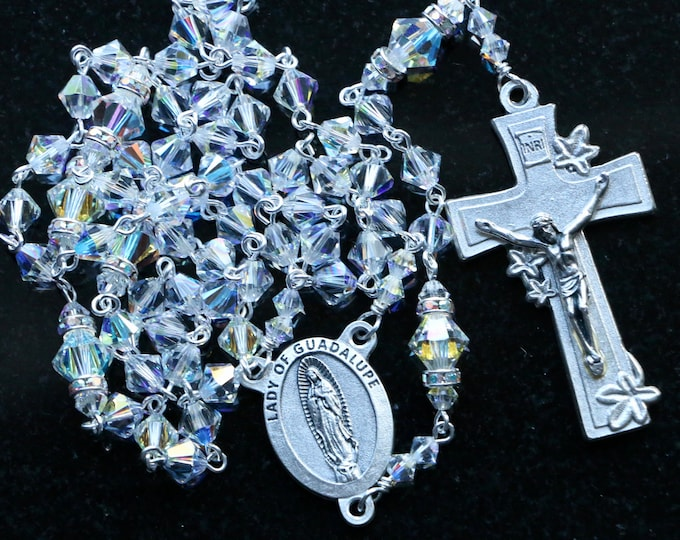 Featured listing image: Catholic Swarovski Crystal AB Bicone Our Lady of Guadalupe Rosary