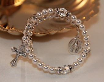 Baby Catholic Swarovski Crystal and Pearl Wrap Rosary Bracelet